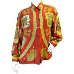 1980s Hermes Poste et Cavalerie Printed Silk Shirt