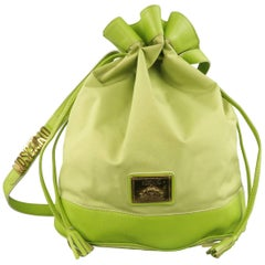 Vintage 1990s MOSCHINO Green Canvas Drawstring Bucket Handbag