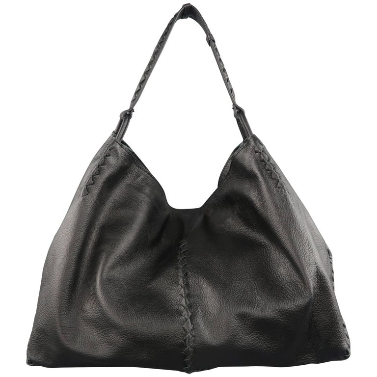 6adb4cc81607 BOTTEGA VENETA Handbag Black Deer Skin Leather Intrecciato Hobo Bag Retail   2050 at 1stdibs
