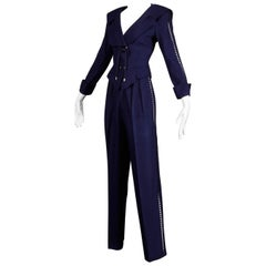 1980s Thierry Mugler Vintage Navy Blue Cut Out Jacket + Pants Suit Ensemble