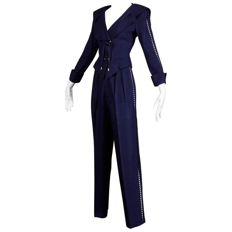 1980s Thierry Mugler Vintage Navy Blue Cut Out Jacket + Pants Suit Ensemble