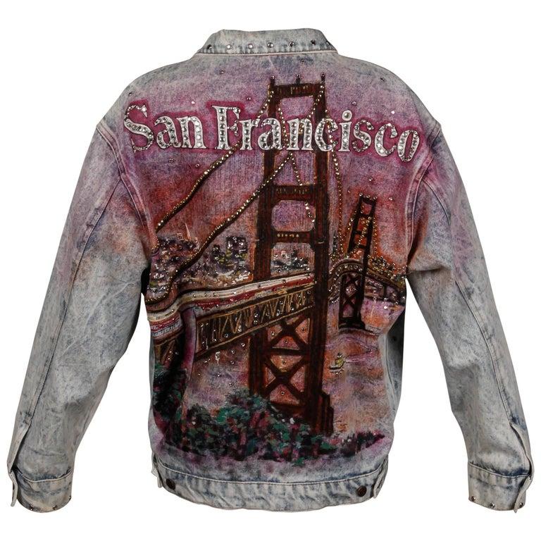 "1989 Tony Alamo Vintage Hand Painted + Studded ""San Franciso"" Denim Jean Jacket"