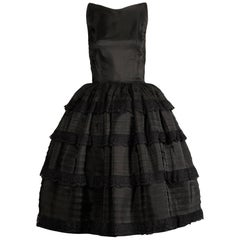 1950s Vintage Black Taffeta + Lace Tiered Ruffle Full Sweep Cocktail Dress
