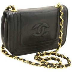 Chanel Small Chain Shoulder Bag Black Quilted Flap Lambskin