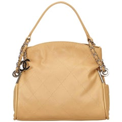 Chanel Beige Wild Stitch Lambskin Leather Shoulder Bag