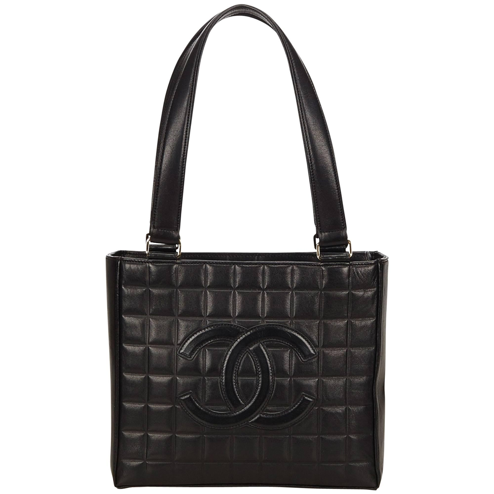6ca492dba1b7 Chanel Black Choco Bar Leather Shoulder Bag For Sale at 1stdibs
