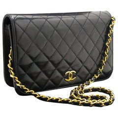 Chanel Navy Chain Shoulder Bag Clutch Quilted Flap Lambskin