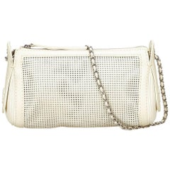 Chanel White Perforated Caviar Leather Chain Bag