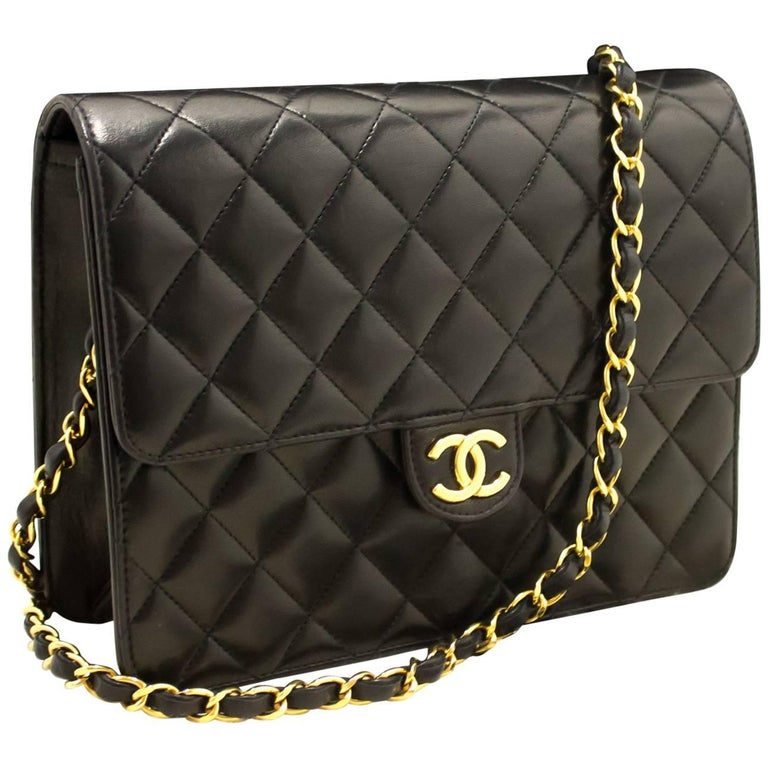 8ff1a5be2eaf Chanel Chain Shoulder Bag Clutch Black Quilted Flap Lambskin Purse ...