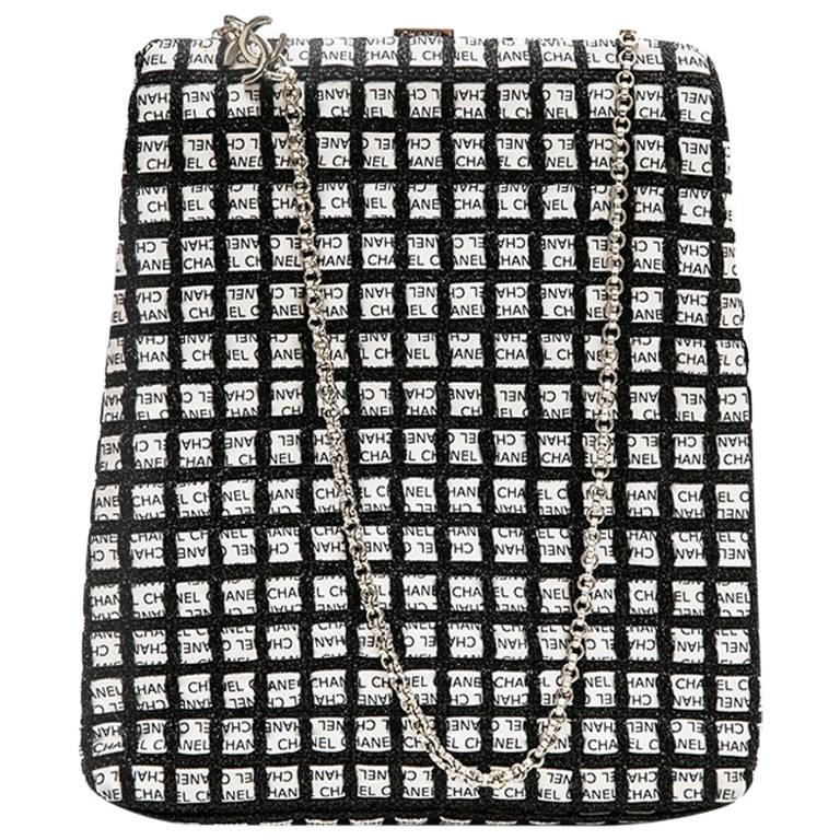 CHANEL Clutch Bag Braided with CHANEL White and Black Ribbons