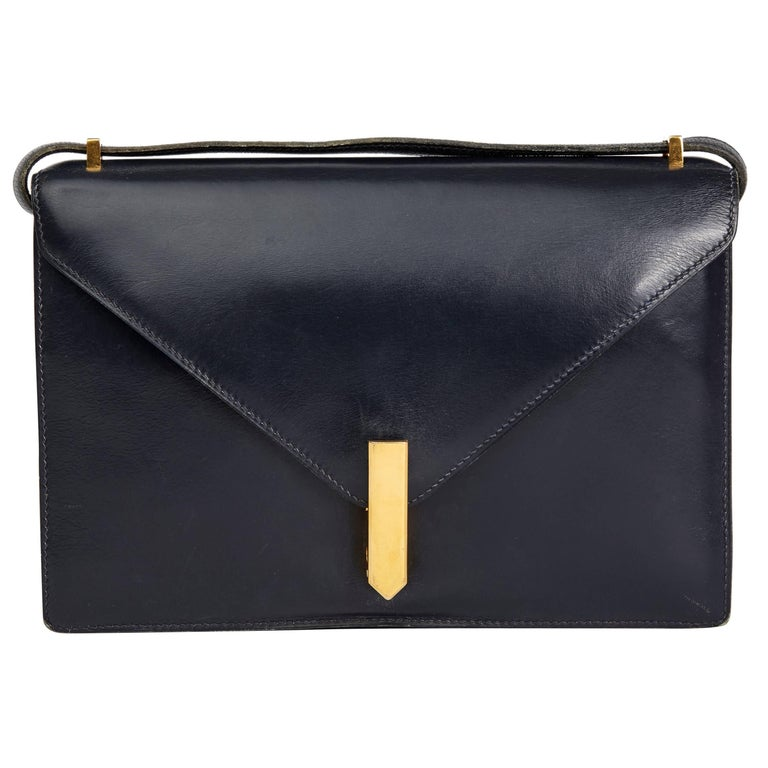 Hermes Navy Box Calf Leather Vintage Jimmy For Sale