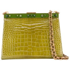 Prada Green Crocodile Leather Clutch, 2000s