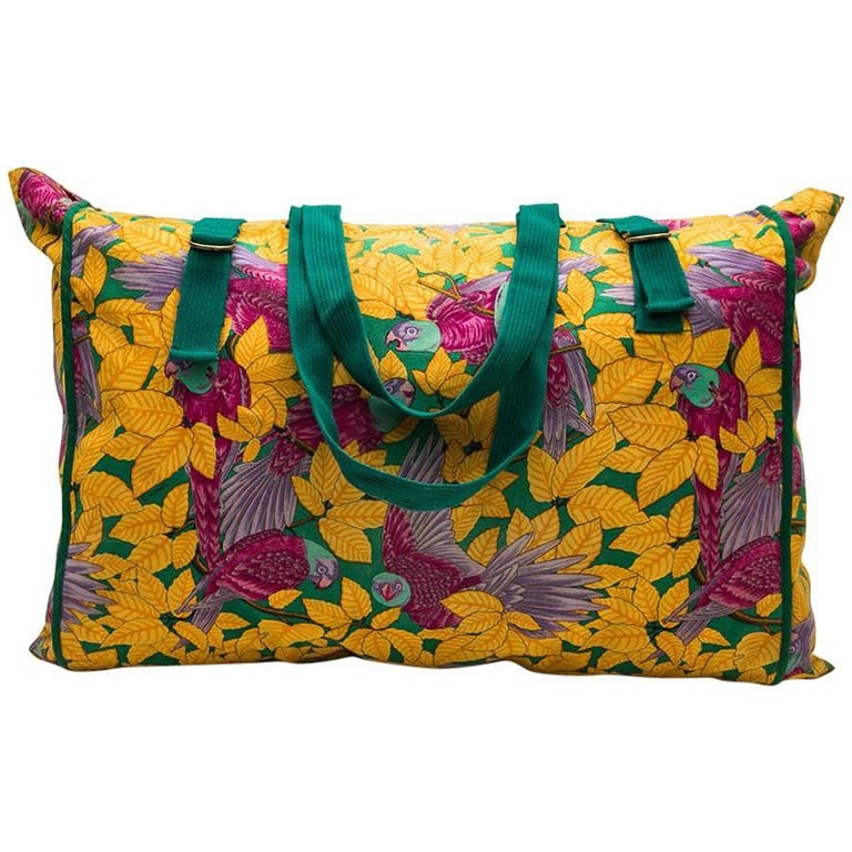 HERMES Beach Bag in Multicolored Flower Printed Cotton