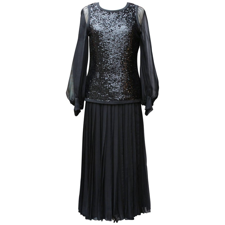 Yves Saint Laurent Haute Couture black sequined silk chiffon dress set, 1970s