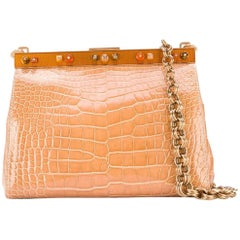 Prada Beige Crocodile Leather Clutch, 2000s