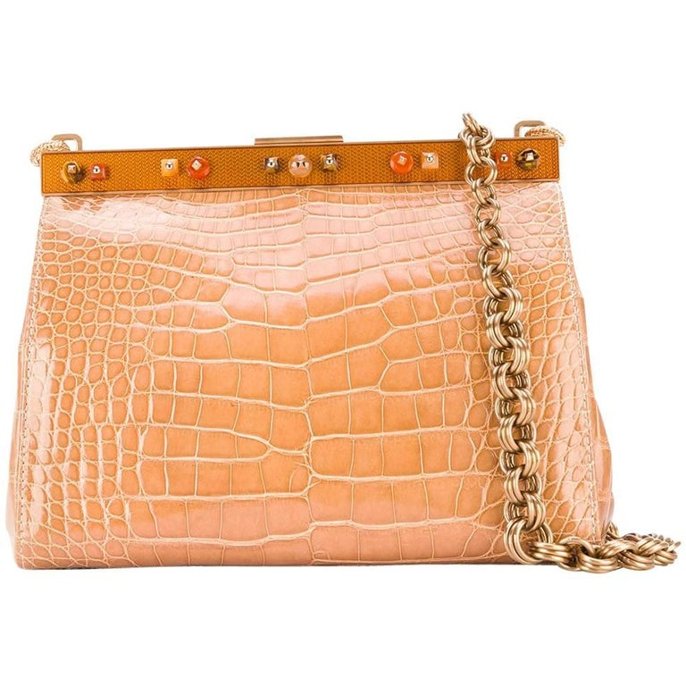 c8e1e9ab3bb2 Prada Beige Crocodile Leather Clutch, 2000s For Sale at 1stdibs
