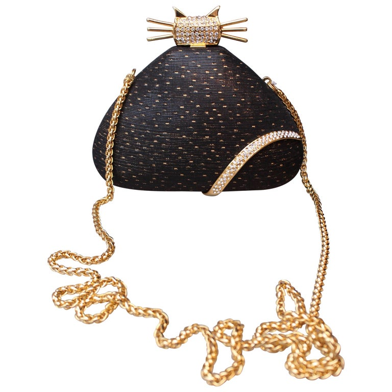 Rodo black and gold cat-shaped minaudière, 1980s