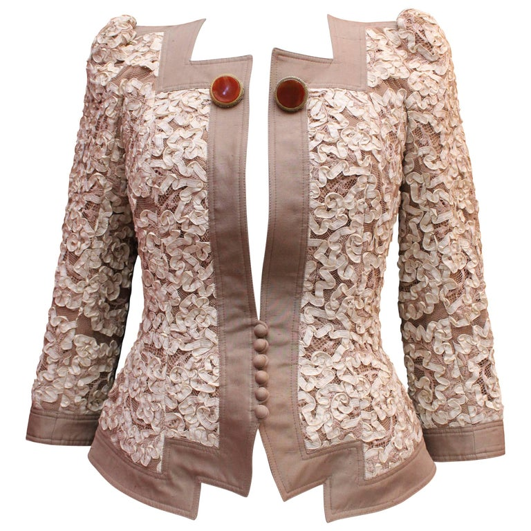 Christian Dior elegant taupe raw silk jacket with cream color ribbon embroidery