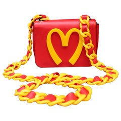 "Moschino red leather iconic ""Fastfood"" bag with yellow ""M"", Fall 2014-2015"