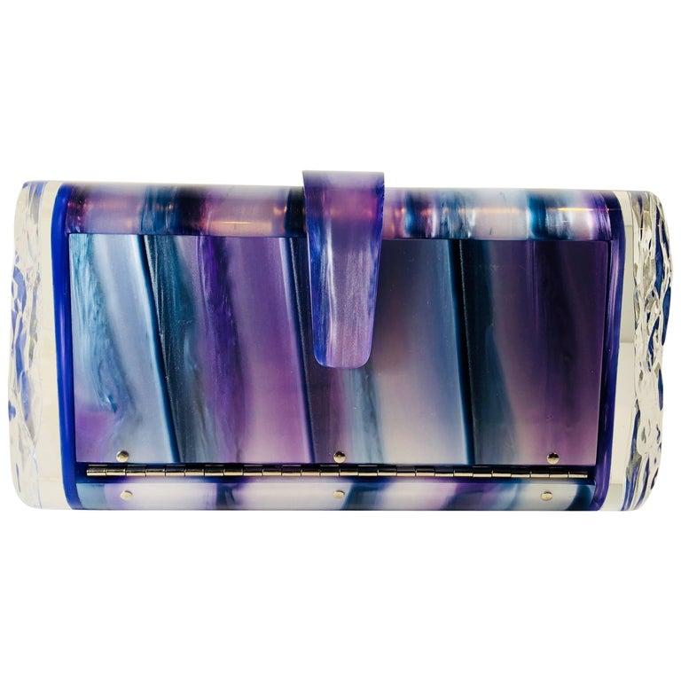 Edie Parker Hardcase Blue/Purple Clutch