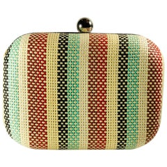 Lilith Striped Woven Clutch with Long Silver Chain Strap