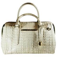 Brahmin White Crocodile Embossed Handbag