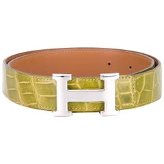 Hermes Green Crocodile Leather Vintage Belt, 2000s