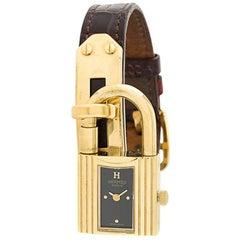 """Hermès Bordeaux Crocodile Leather """"Kelly"""" Watch, 1990s"""