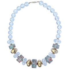 Vintage Clear and Golden Plastic Bead Necklace with Multi Coloured Confetti