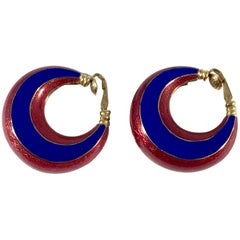 Ciner Enamel Hoop Earrings Red and Blue from the 1960s