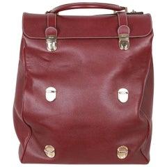 PINEIDER Burgundy Leather TRI BAG Multilevel Closure TRAVEL BAG