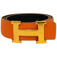 Hermes Reversible Constance H Belt Set Orange Togo and Black Chamonix
