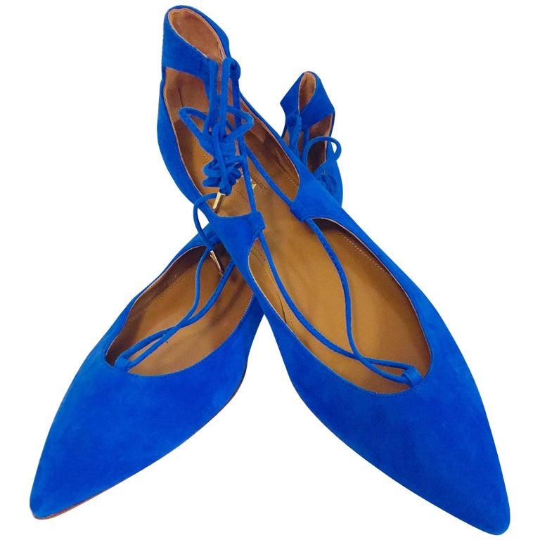 Aquazzura Electric Blue Belgravia Suede Flats w/ Gold Tone Heel