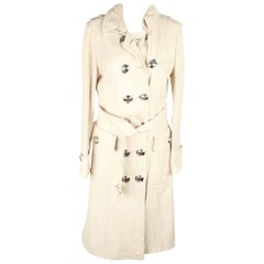 BURBERRY Ivory Leather TRENCH COAT Double Breasted w/ BELT Size 42