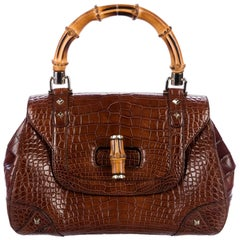 Gucci Cognac Brown Alligator Exotic Skin Leather Bamboo Evening Satchel Bag