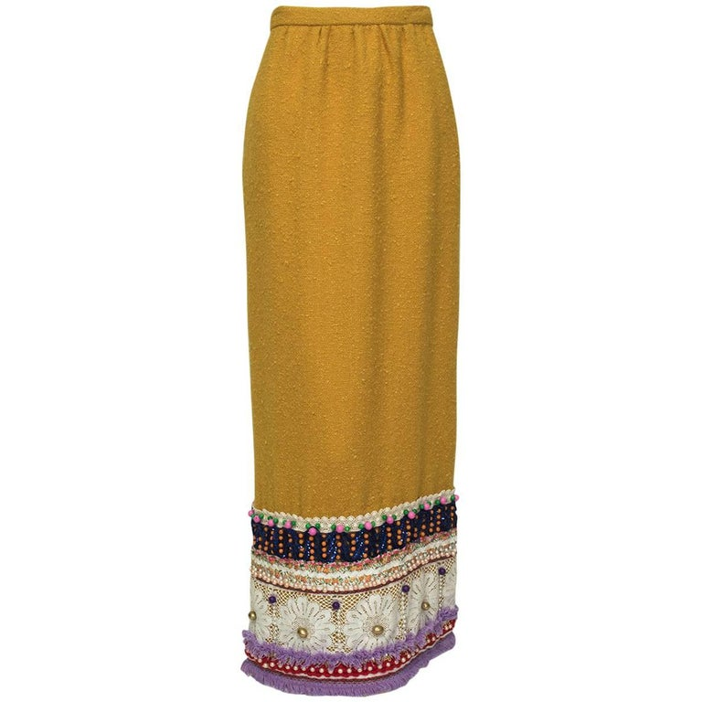 Digby Morton Heavily Embellished Bouclé Maxi Skirt, 1960s