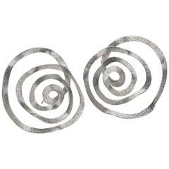 Reiko Ishiyama Bright Silver Spiral Swirl Stud Earrings