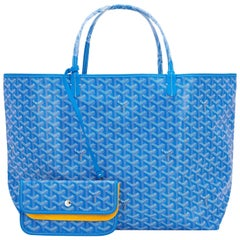 Goyard Blue Claire St Louis GM Chevron Tote Bag Celeb Favorite