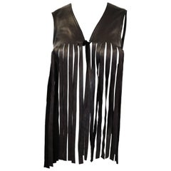 1970's French Black leather Fringe Vest Made for Neiman Marcus