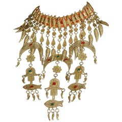 Tunisian Hand of Fatima Wedding Hamsa Bib Choker Necklace, 1969