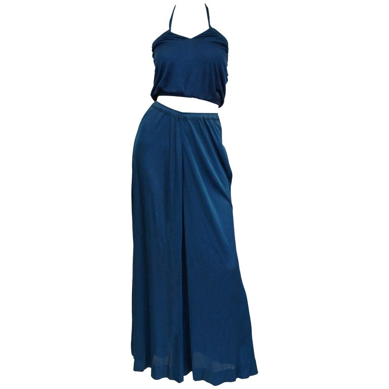 Holly's Harp Royal Blue Stretch Knit Ensemble, 1970s   For Sale