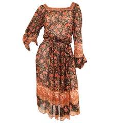 1970s Indian Red and Black Sheer Silk Hand Block Print Dress