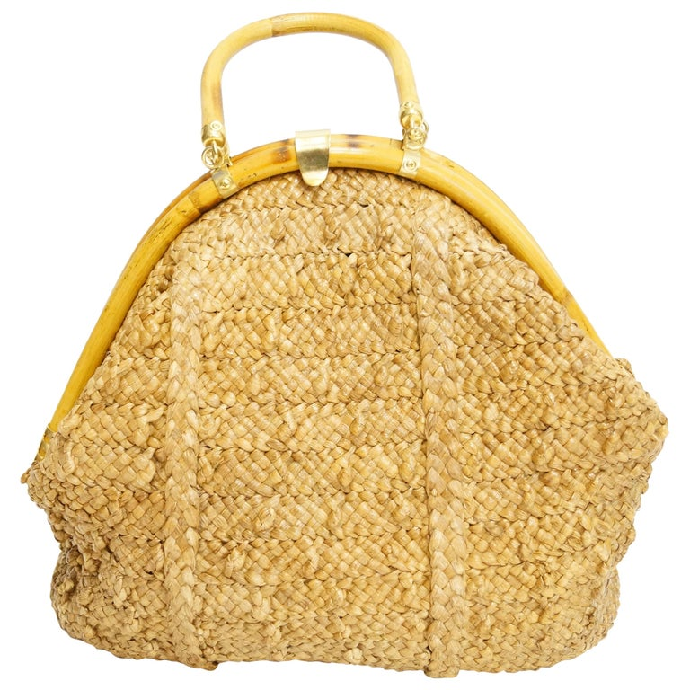 1970s Delill Bamboo Handle Woven Slouch Tote Bag made in Italy For Sale