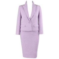 VALENTINO Miss V c.1990's 2 Piece Lavender Boucle Wool Blazer Skirt Suit Set