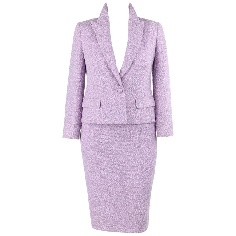 76e346f3443 VALENTINO Miss V c.1990's 2 Piece Lavender Boucle Wool Blazer Skirt Suit Set  For