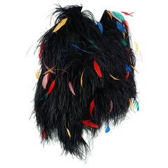 1977 Bill Blass Couture Ostrich Feather Rainbow Cropped Bolero Jacket