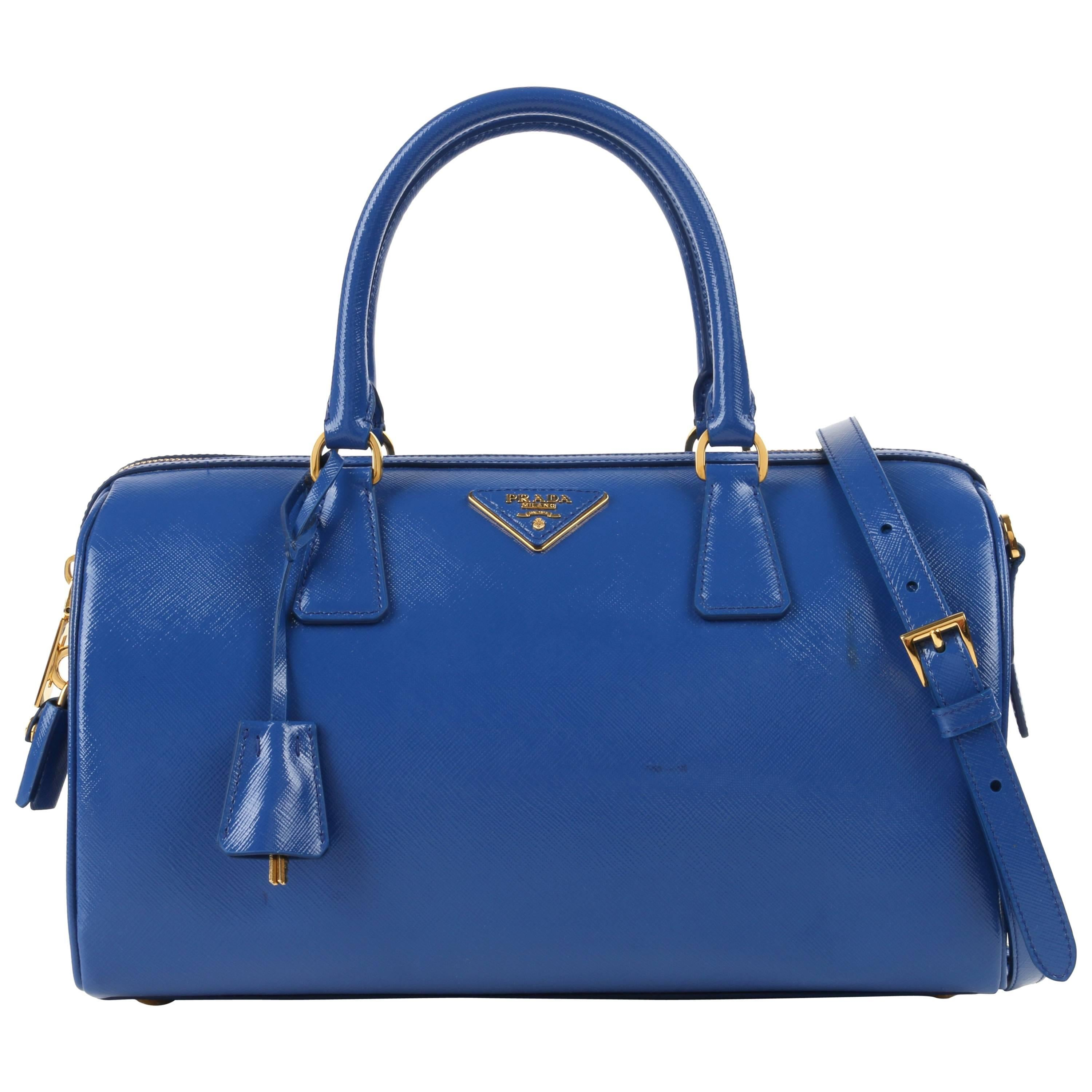 PRADA S/S 2012 Blue Saffiano Vernice Patent Leather Convertible Boston Bag Purse