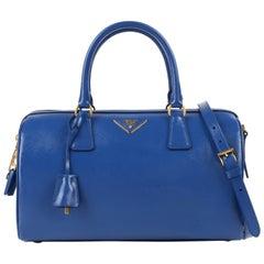 0327205e94 PRADA S S 2012 Blue Saffiano Vernice Patent Leather Convertible Boston Bag  Purse