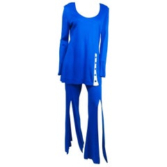 Electric Blue Tunic Top & Flare Pants Disco Set, 1970s