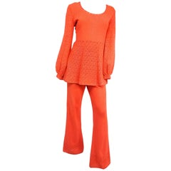 Orange Crochet Two Piece Set, 1970s